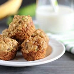 Moist, healthy and delicious Banana-Zucchini Mini Crumb Muffins. Perfect for breakfast or a quick snack.