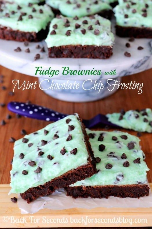 Best Fudge Brownies Recipe with Mint Frosting from backforsecondsblog.com