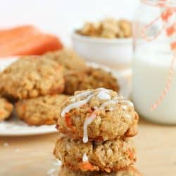 Moist carrot cookies filled with coconut, oats, walnuts and of course, shredded carrots! The perfect cookie for spring!
