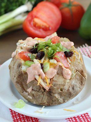 Taco Style Crock Pot Baked Potatoes