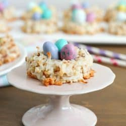Delicious little nests made out of macaroon cookies and then topped with M&M Easter egg candies. Perfect for spring!
