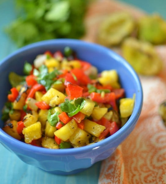 Grilled Pineapple Salsa - littleferrarokitchen.com