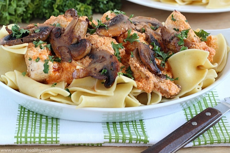 Healthy And Creamy Chicken Stroganoff Made Using Yogurt Surprise And Served Over