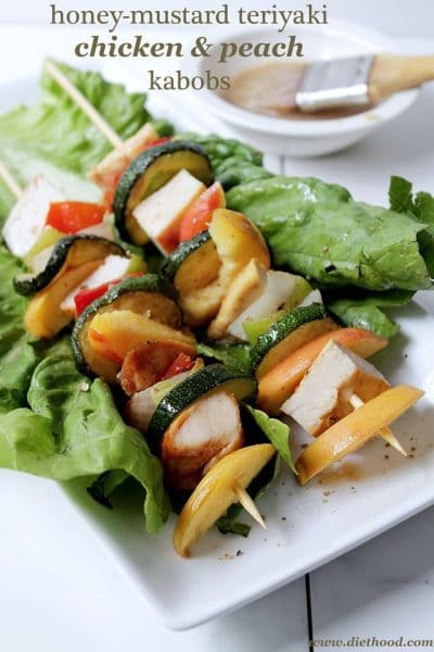 Honey Mustard Teriyaki Chicken & Peach Kabobs - Diethood.com