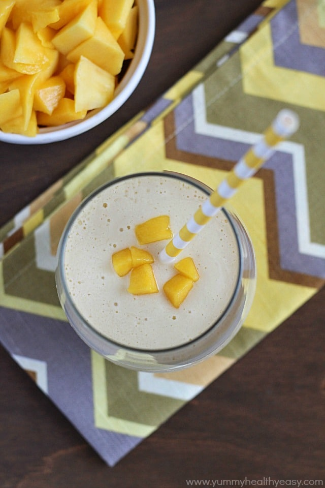 Fresh, easy and healthy mango smoothie with tofu as the protein!!