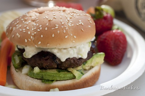 Queso Bacon Burger with Avocado Salsa - www.barbarabakes.com