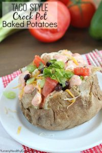 Taco Style Crock Pot Baked Potatoes