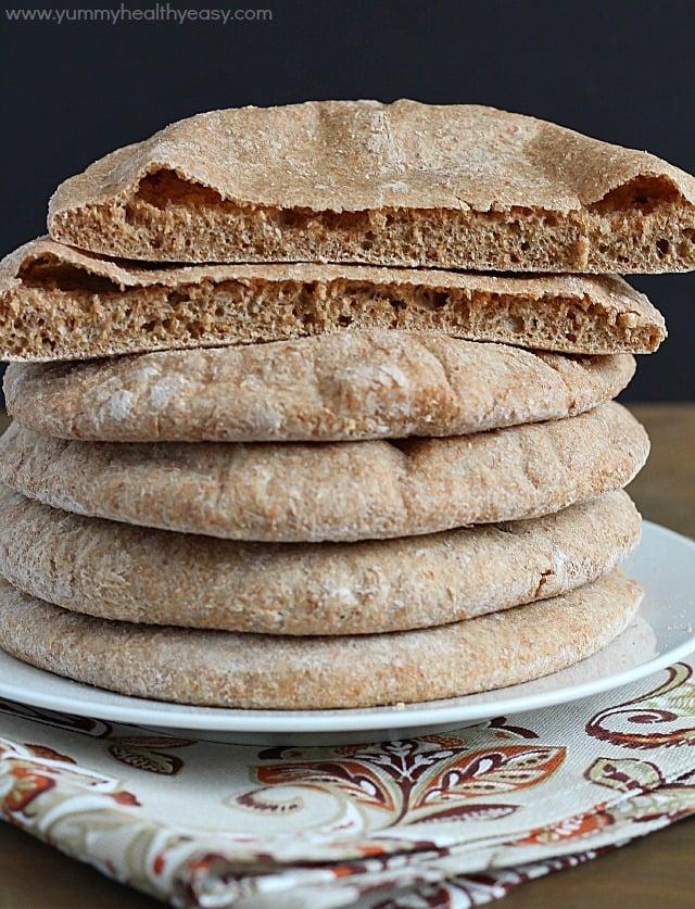 Homemade Whole Wheat Pita Bread Yummy Healthy Easy