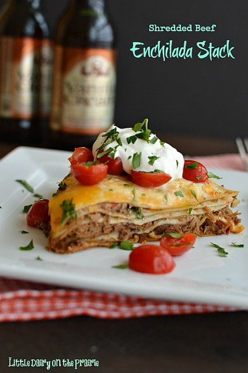 Shredded Beef Enchilada Stack from Little Dairy on the Prairie