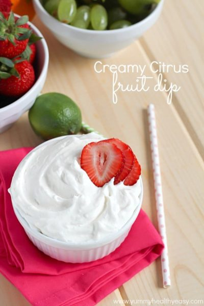 Creamy Citrus Fruit Dip | creamy fruit dip with a touch of three different citrus fruits to give it the best flavor - light, fluffy and perfect for dipping fruit into!