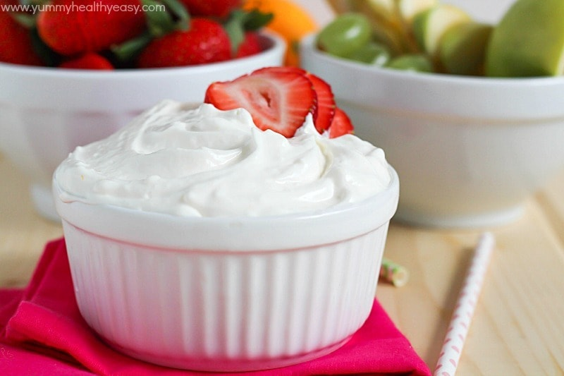 Creamy fruit dip with a touch of three different citrus fruits to give it the best flavor - light, fluffy and perfect for dipping fruit in!