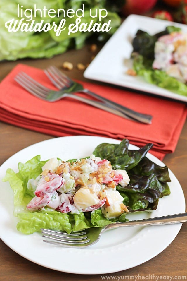 Lightened Waldorf Salad uses non-fat yogurt instead of all mayonnaise. Crunchy, sweet, savory, healthy & delicious!