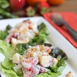 Lightened Waldorf Salad on lettuce leaves on a white plate.