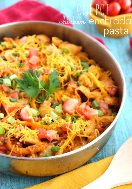 One Pot Chicken Enchilada Pasta from Chelsea's Messy Apron