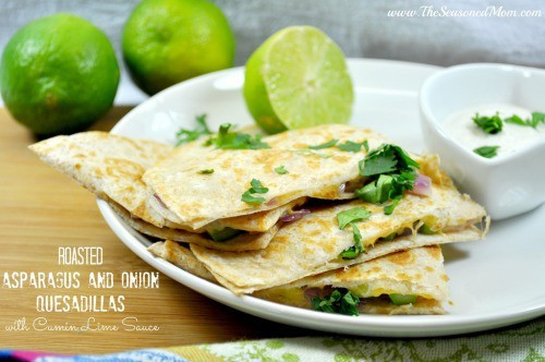 Roasted Asparagus and Onion Quesadillas from The Seasoned Mom