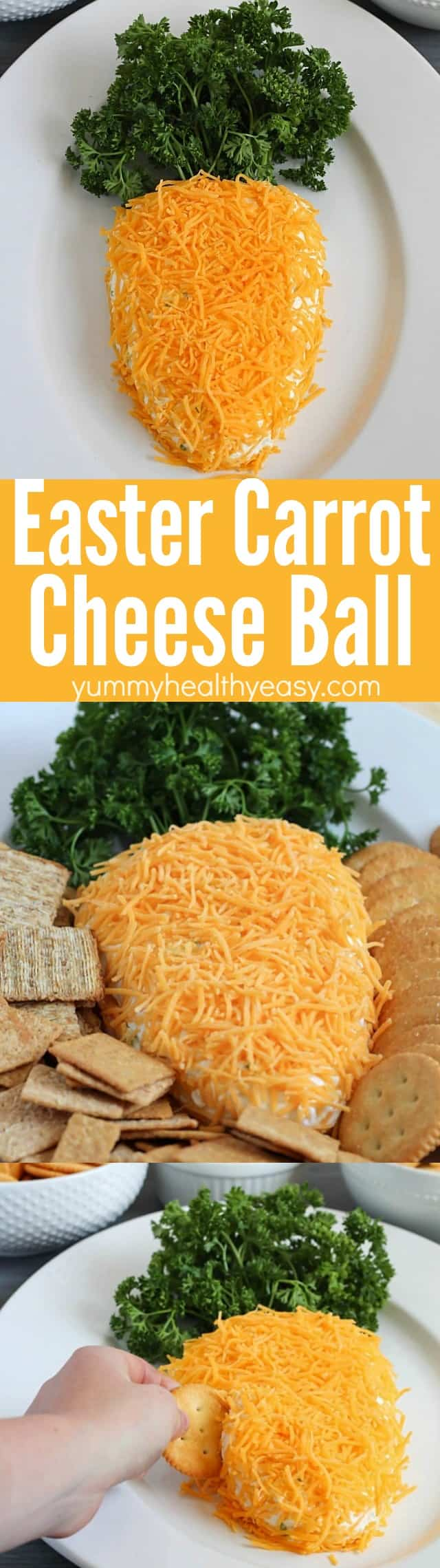 Need a fun treat to bring to an Easter party? Take this carrot-shaped cheese ball! It's sure to win the vote for cutest and tastiest snack! via @jennikolaus