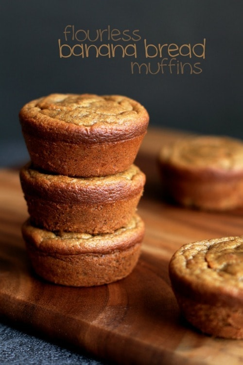 Flourless Banana Bread Muffins by RunningwithSpoons.com