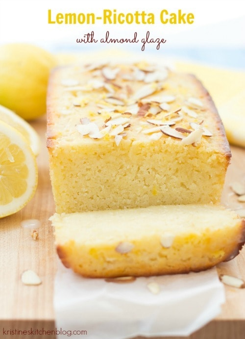 Lemon-Ricotta Cake with Almond Glaze by Kristine's Kitchen