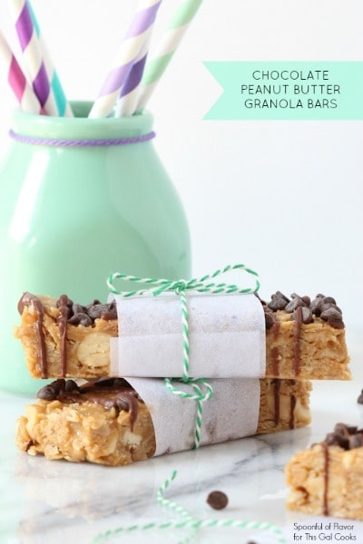 No Bake Chocolate Peanut Butter Granola Bars by Spoonful of Flavor