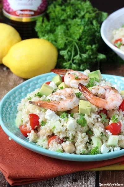 Mediterranean Grilled Shrimp Quinoa Salad from Spoonful of Flavor