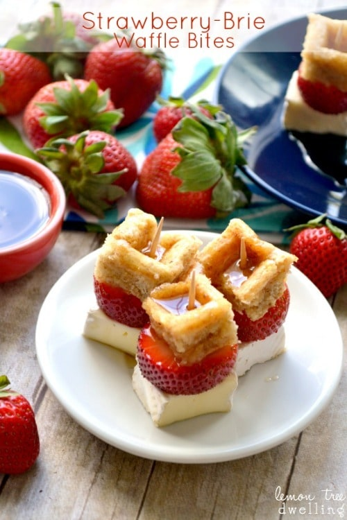Strawberry Brie Waffle Bites by LemonTreeDwelling.com