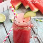 Easy Watermelon Peach Cooler - a delicious drink made from ripe peaches and watermelon then mixed with lemon-lime soda. Refreshing, healthy and easy!