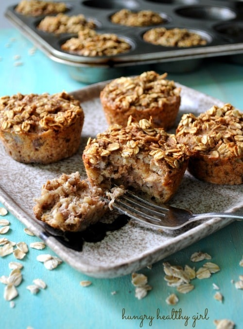 Baked Banana Oatmeal Muffins by HungryHealthyGirl.com