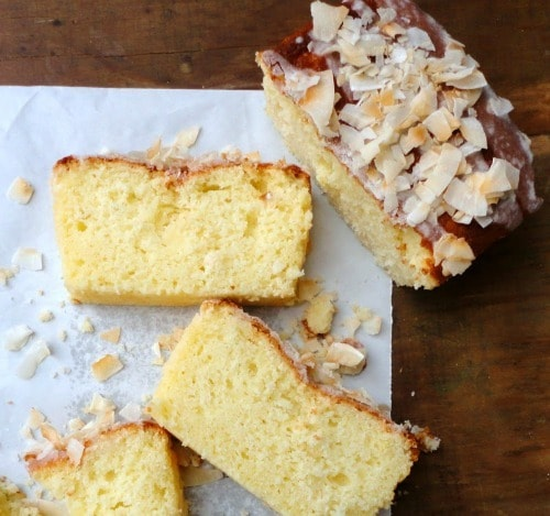 Classic Lemon Loaf with Coconut Glaze by bonheurcuisine.blogspot.com