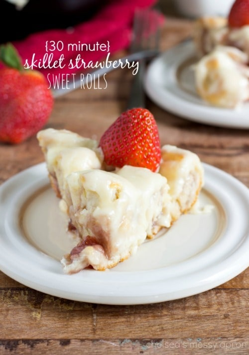 Easy 30-Minute Strawberry Skillet Sweet Roll Cake by ChelseasMessyApron.com