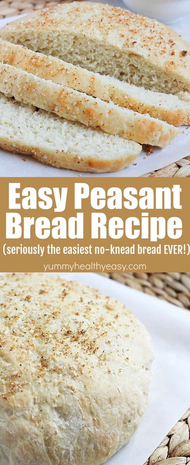 This Easy Peasant Bread Recipe is seriously the easiest and best bread recipe you'll ever make! It's no-knead and only has a few ingredients. So simple to make and incredibly yummy - you won't believe it!  #bread #recipe #carbs #sidedish #easyrecipe #yummy #healthy #easy via @jennikolaus