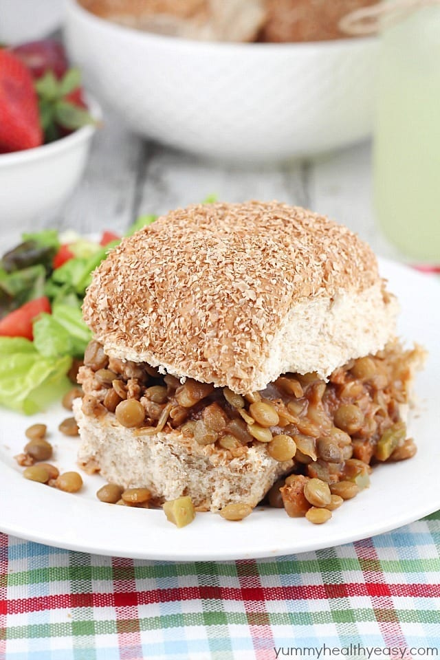 Easy slow cooker Sloppy Joe sandwiches made with ground turkey and lentils. A healthy spin on Sloppy Joes that the whole family will love! #cleaneating