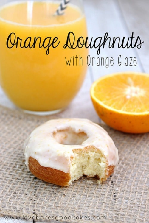 Orange Doughnuts with Orange Glaze by LoveBakesGoodCakes.com