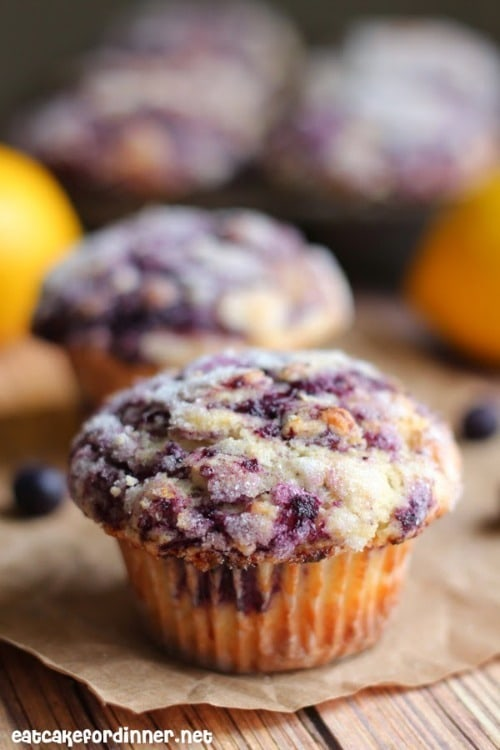 The Best Blueberry Muffins Ever by eatcakefordinner.net