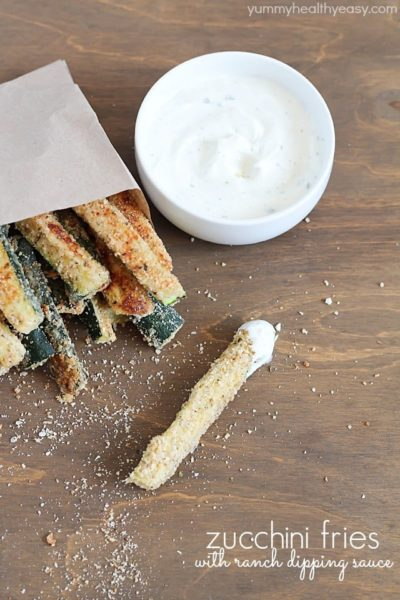 Package of Baked Zucchini Fries with a side of yummy ranch dipping sauce.