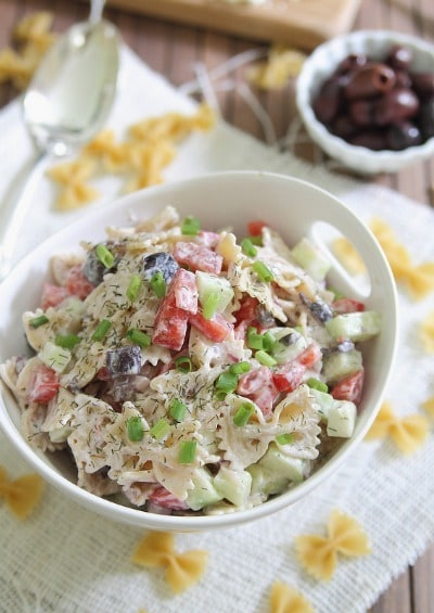 Greek Pasta Salad - Running to the Kitchen