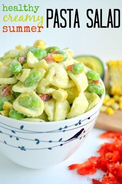 Healthy Creamy Pasta Salad - Sugar Dish Me