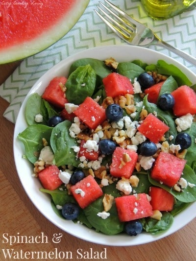 Spinach & Watermelon Salad from Cozy County Living
