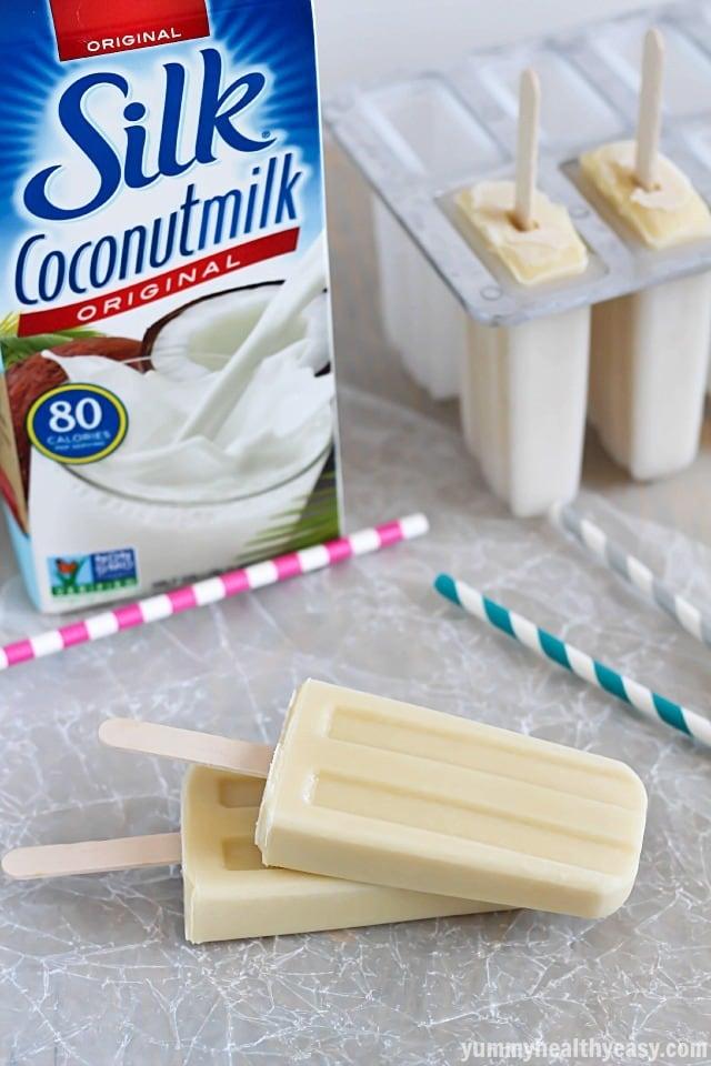 Coconut Vanilla Pudding Pops - easy and delicious homemade pudding pops made using coconut milk. Perfect summertime dessert! #silkcoconut #ad