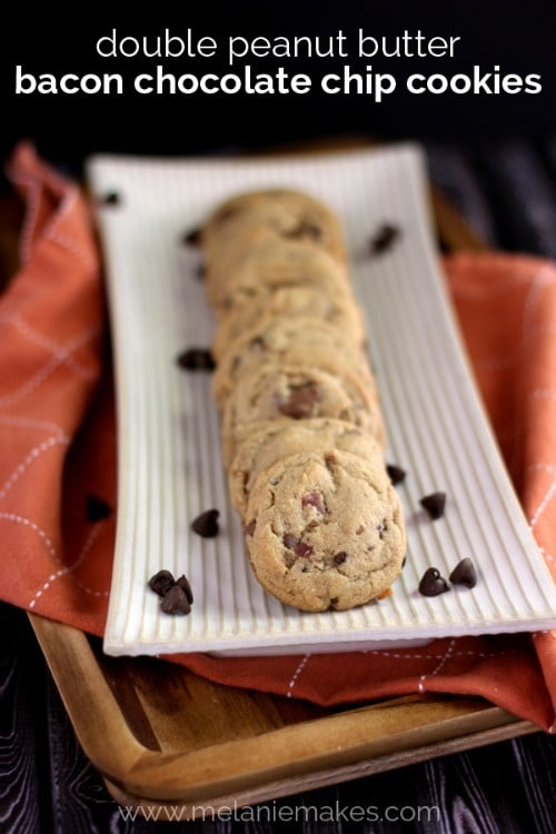 Double Peanut Buter Bacon Chocolate Chip Cookies - Melanie Makes