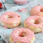 Baked Donuts made with refrigerated biscuits and drizzled with easy and delicious strawberry glaze!