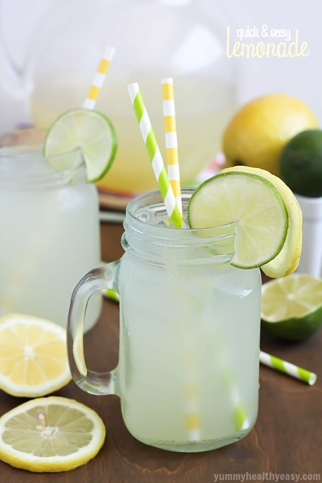 Quick & Easy Lemonade, perfect for a hot summer day! Tart, tangy & just a touch fizzy. Simple and delicious with no squeezing required!