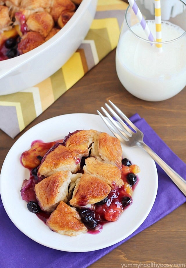 ... biscuits to create an easy topping over fresh peaches and blueberries