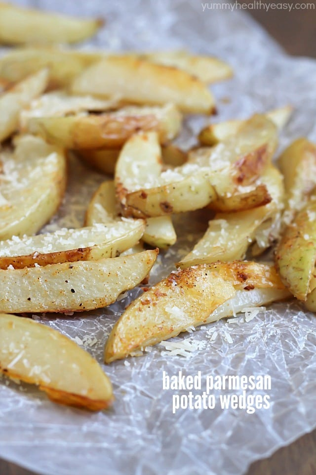 Baked Parmesan Potato Wedges - Yummy Healthy Easy