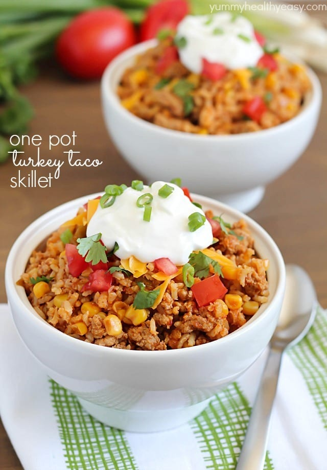 Turkey Taco Skillet - easy and healthy 30 minute meal cooked all in one pot!