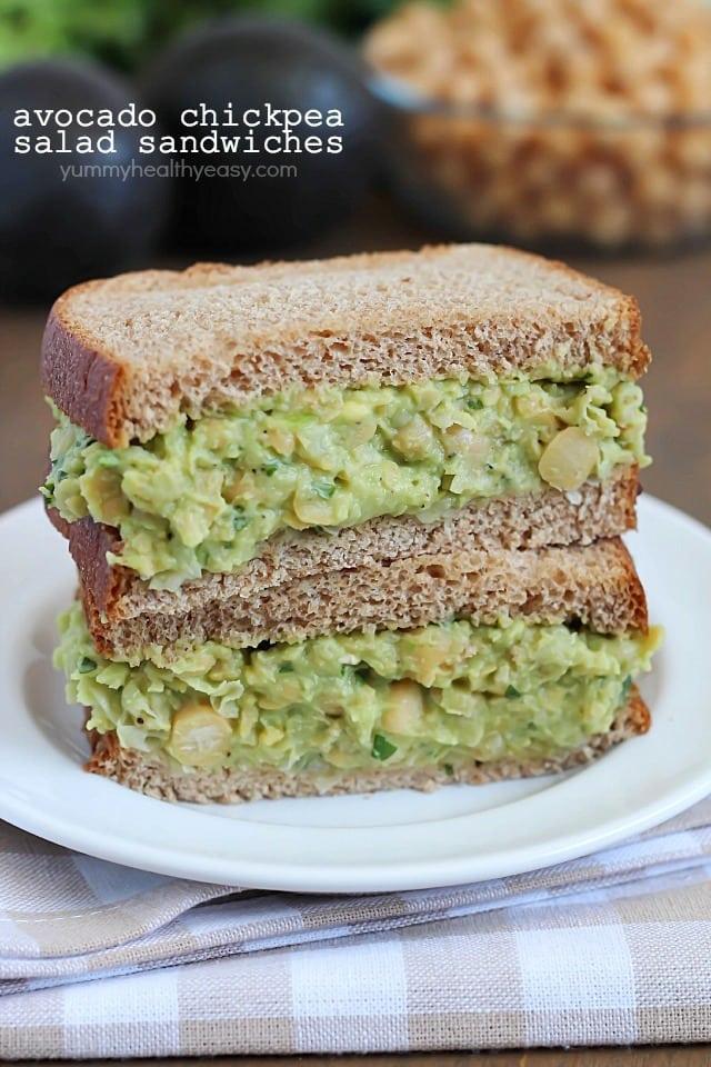 Avocado Chickpea Salad Sandwich - Yummy Healthy Easy