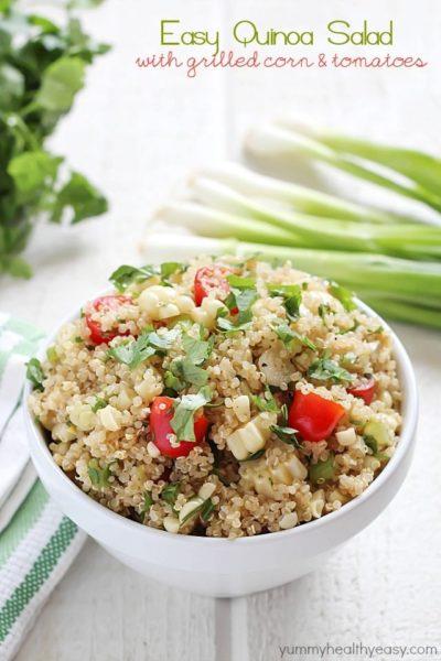 Quinoa Salad full of healthy quinoa, grilled corn, cherry tomatoes, cilantro and spices. Delicious!