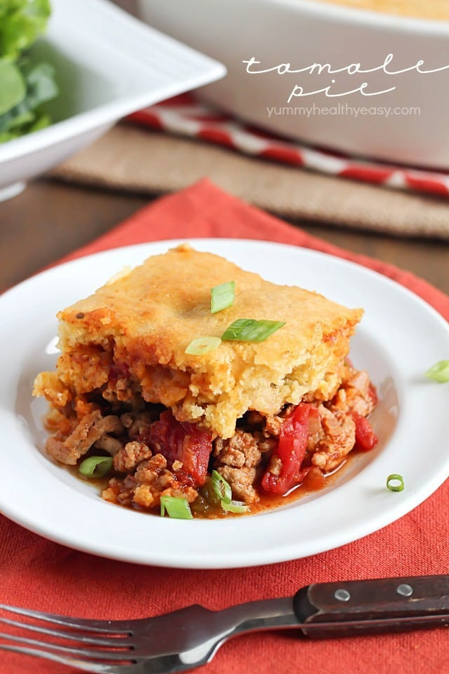Tamale Pie - flavorful turkey and spices topped with a layer of cornbread. Absolutely delicious!