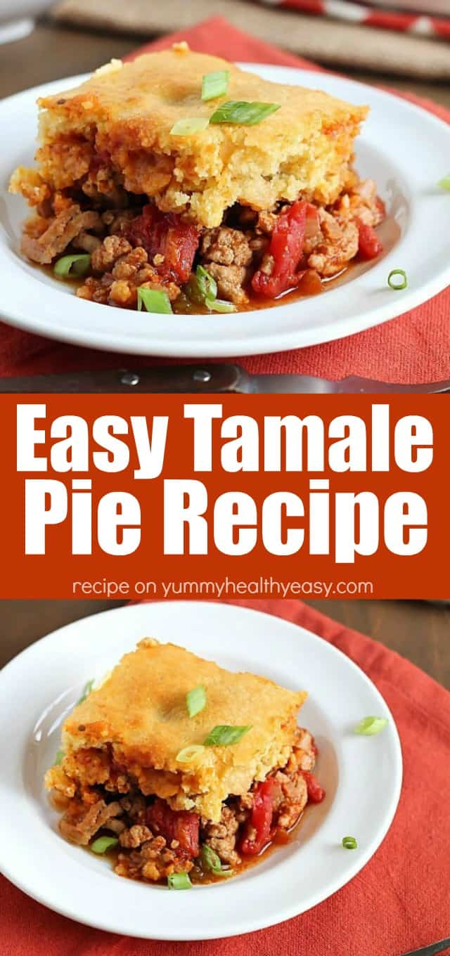 This Tamale Pie Recipe is the most amazing, easy, scrumptious dinner you can throw together. It's a flavorful mixture of ground turkey and spices topped with a layer of cornbread.