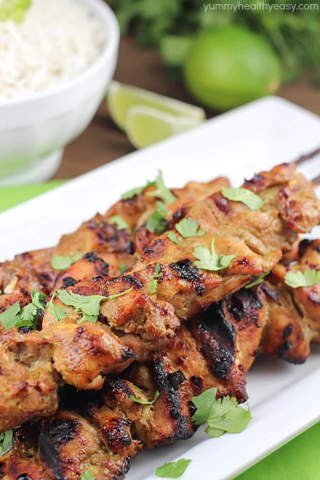 Thai Coconut Chicken Skewers with Coconut Rice - Yummy Healthy Easy