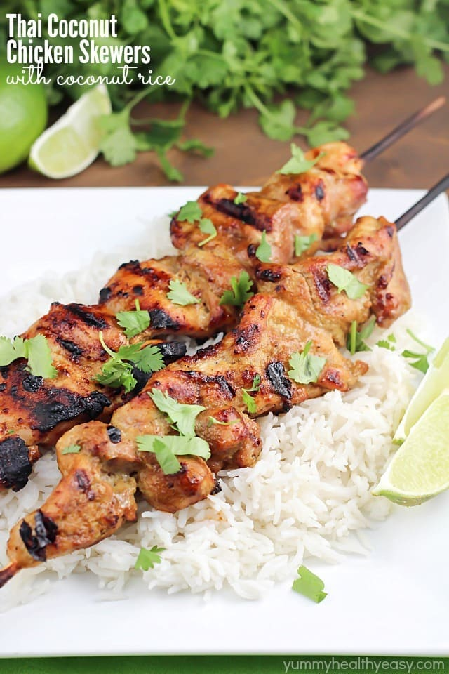 Thai Coconut Chicken Skewers with Coconut Rice - Yummy ...